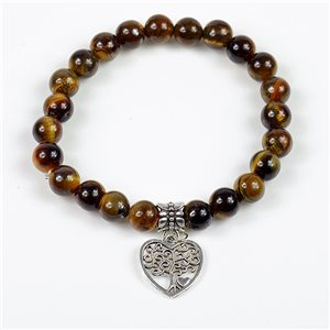 Lucky Tree of Life Beads Bracelet 8mm in Tiger Eye Stone on elastic thread 78147