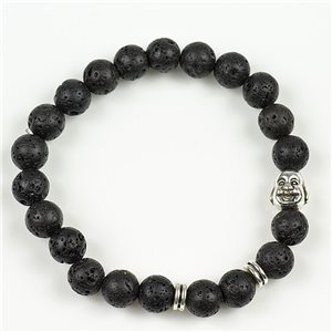 Lucky Buddha Beads Bracelet 8mm Lava Stone on elastic thread 78152