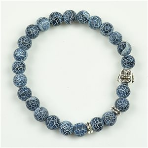 Lucky Buddha Beads Bracelet 8mm in Agate Marbled Stone on Elastic Wire 78156