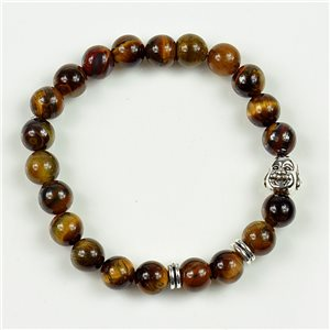 Charm Bracelet Buddha Pearls 8mm in Tiger Eye Stone on elastic thread 78162