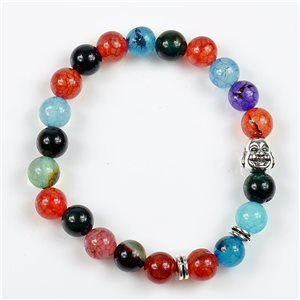 Lucky Buddha Beads Bracelet 8mm in Agate Stone multicolor on elastic thread 78165
