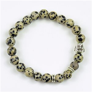 Charm Bracelet Buddha Pearls 8mm in Dalmatian Jasper Stone on elastic thread 78166