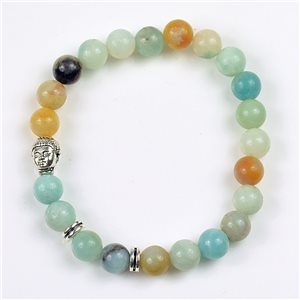 Charm Bracelet Buddha Pearls 8mm in Jasper Stone on elastic thread 78172