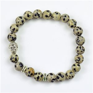 Charm Bracelet Buddha Pearls 8mm in Dalmatian Jasper Stone on elastic thread 78181