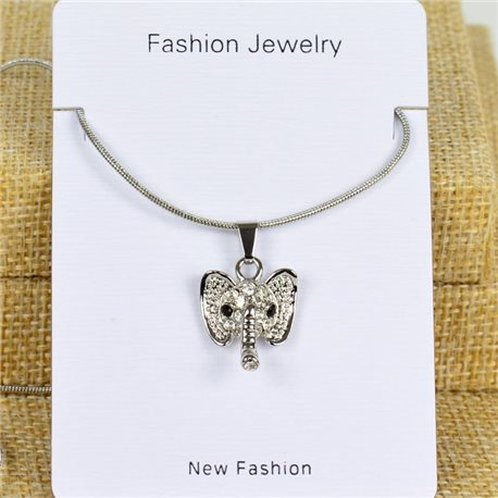 IRIS Silver Color Rhinestone Pendant Necklace Snake chain L40-45cm 78272