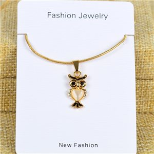 IRIS Gold Color Rhinestone Pendant Necklace Snake chain L40-45cm 78277