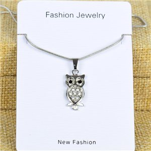 IRIS Silver Color Rhinestone Pendant Necklace Snake chain L40-45cm 78278