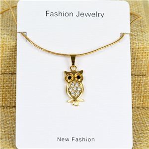 IRIS Gold Color Rhinestone Pendant Necklace Snake chain L40-45cm 78279
