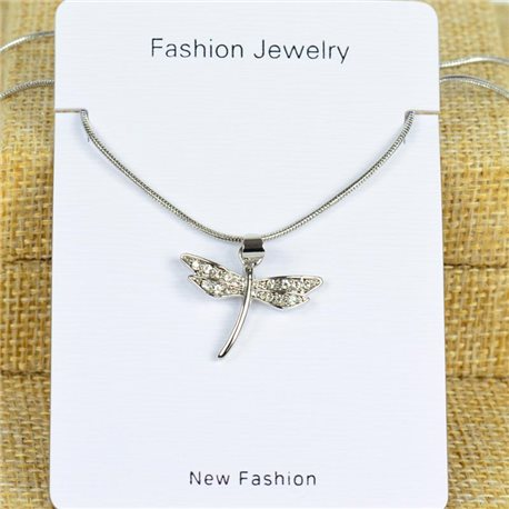 IRIS Silver Color Rhinestone Pendant Necklace Snake chain L40-45cm 78282