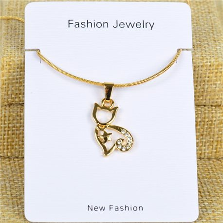 IRIS Gold Color Rhinestone Pendant Necklace Snake chain L40-45cm 78287