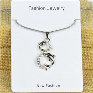 IRIS Silver Color Rhinestone Pendant Necklace Snake chain L40-45cm 78290