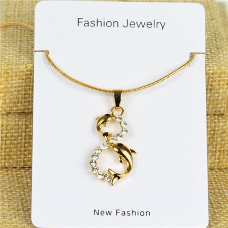 IRIS Gold Color Rhinestone Pendant Necklace Snake chain L40-45cm 78291