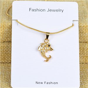 IRIS Gold Color Rhinestone Pendant Necklace Snake chain L40-45cm 78293