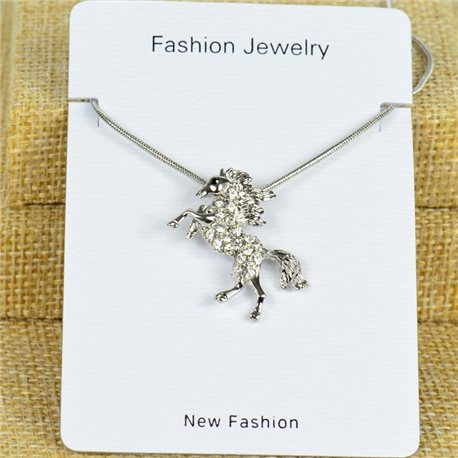 IRIS Silver Color Rhinestone Pendant Necklace Snake chain L40-45cm 78294