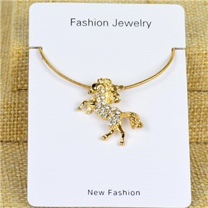 IRIS Gold Color Rhinestone Pendant Necklace Snake chain L40-45cm 78295