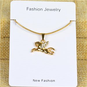 Collier Pendentif Strass IRIS Gold Color Chaine maille serpent L40-45cm 78297