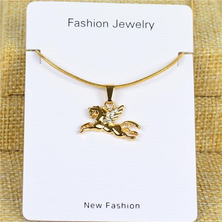 IRIS Gold Color Rhinestone Pendant Necklace Snake chain L40-45cm 78297
