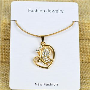 IRIS Gold Color Rhinestone Pendant Necklace Snake chain L40-45cm 78299