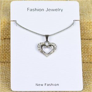 IRIS Silver Color Rhinestone Pendant Necklace Snake chain L40-45cm 78304
