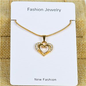IRIS Gold Color Rhinestone Pendant Necklace Snake chain L40-45cm 78305