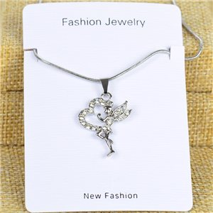 IRIS Silver Color Rhinestone Pendant Necklace Snake chain L40-45cm 78308