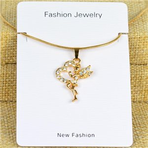 IRIS Gold Color Rhinestone Pendant Necklace Snake chain L40-45cm 78309