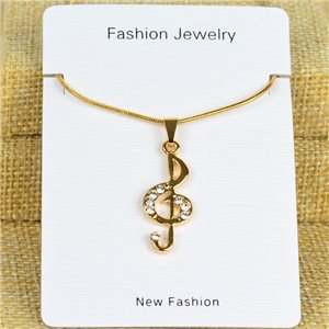 IRIS Gold Color Rhinestone Pendant Necklace Snake chain L40-45cm 78319