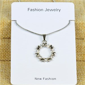IRIS Silver Color Rhinestone Pendant Necklace Snake chain L40-45cm 78324