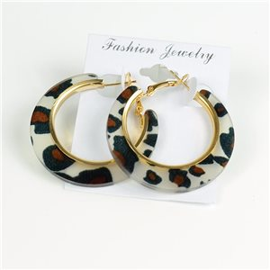 1p Leopard Hoop Earrings 45mm flap closure New Collection 78197