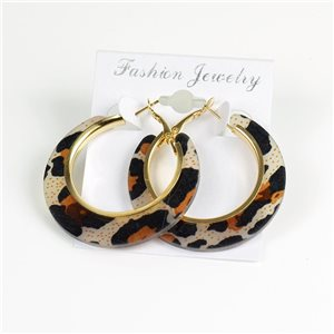 1p Leopard Hoop Earrings 45mm flap closure New Collection 78199
