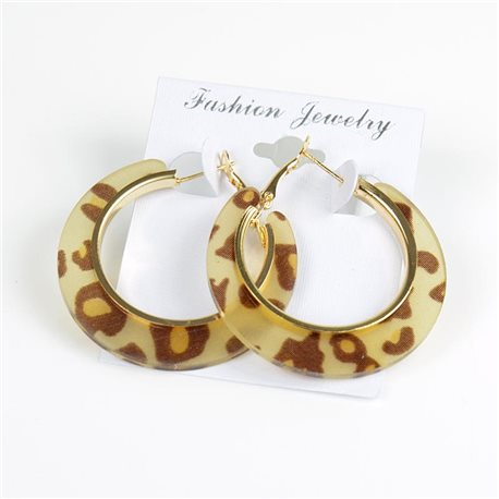 1p Leopard Hoop Earrings 45mm flap closure New Collection 78200