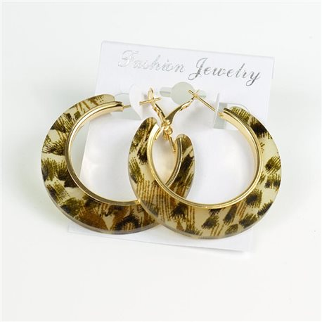1p Leopard Hoop Earrings 45mm flap closure New Collection 78202
