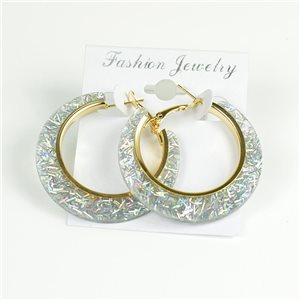 1p Hoop Earrings Glitter 45mm flap closure New Collection 78204