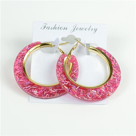 1p Hoop Earrings Glitter 45mm flap closure New Collection 78206