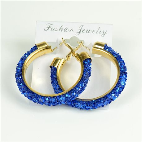 1p Hoop Earrings with Sequins 45mm flap closure New Collection 78212