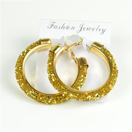 1p Hoop Earrings with Sequins 45mm flap closure New Collection 78213