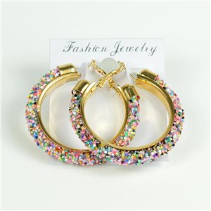 1p Hoop Earrings with Sequins 45mm flap closure New Collection 78214