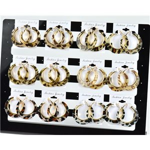Lot 12p Leopard Hoop Earrings 45mm flap closure New Collection 78216