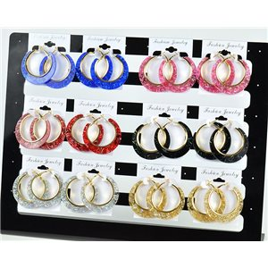 Lot 12p Hoop Earrings Glitter 45mm flap closure New Collection 78217