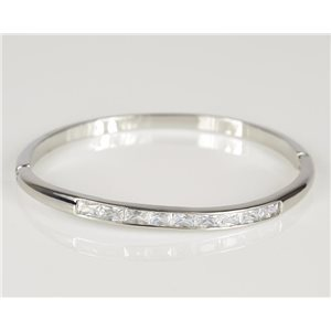 Bangle with metal clip color White Gold Zircon diamond cut D60mm Chic Collection 78434