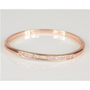 Bracelet Jonc à clip métal couleur Or Rose Zircon coupe diamant D60mm Collection Chic 78436