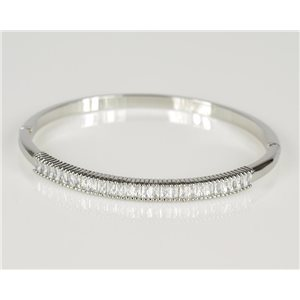 Bangle with metal clip in White Gold color Zircon diamond cut D60mm Chic Collection 78437
