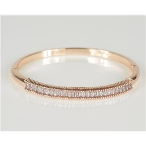 Bangle with metal clip in Rose Gold color Zircon diamond cut D60mm Chic Collection 78439