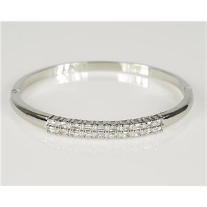 Bracelet Jonc à clip métal couleur Or Blanc Zircon coupe diamant D60mm Collection Chic 78440