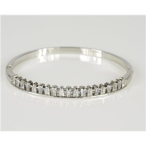 Bracelet Jonc à clip métal couleur Or Blanc Zircon coupe diamant D60mm Collection Chic 78443