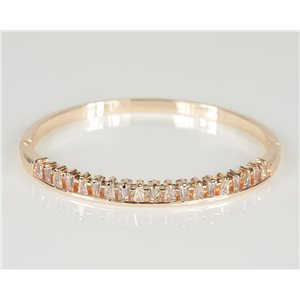 Bracelet Jonc à clip métal couleur Or Rose Zircon coupe diamant D60mm Collection Chic 78445