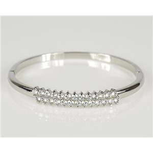 Bangle with metal clip color White Gold Zircon diamond cut D60mm Chic Collection 78446