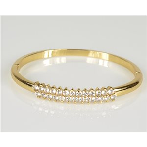 Bangle with metal clip color Yellow Gold Zircon diamond cut D60mm Chic Collection 78447