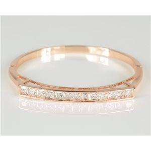 Bracelet Jonc à clip métal couleur Or Rose Zircon coupe diamant D60mm Collection Chic 78451