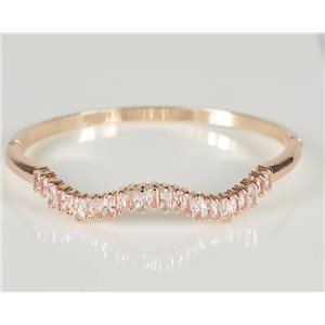 Bracelet Jonc à clip métal couleur Or Rose Zircon coupe diamant D60mm Collection Chic 78454